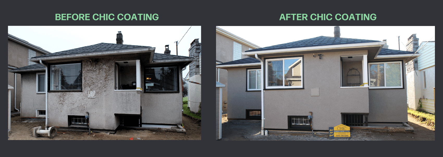 Before and after CHIC stucco coating