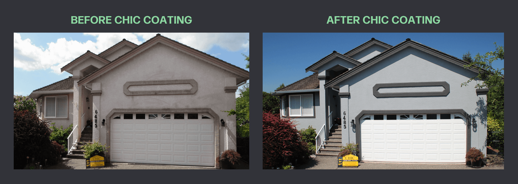 Before and after of CHIC stucco coating