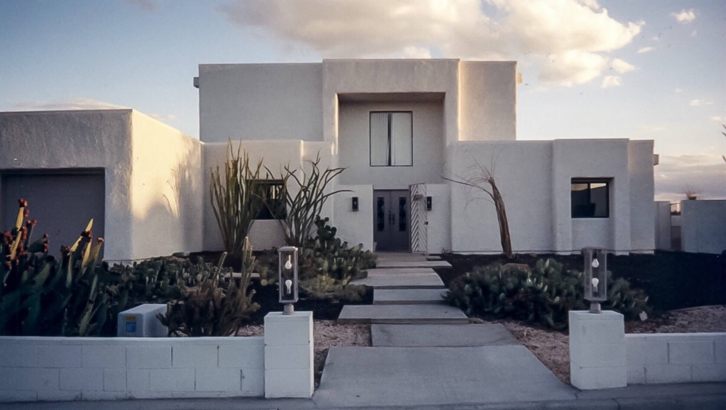 Modern house with white stucco paint