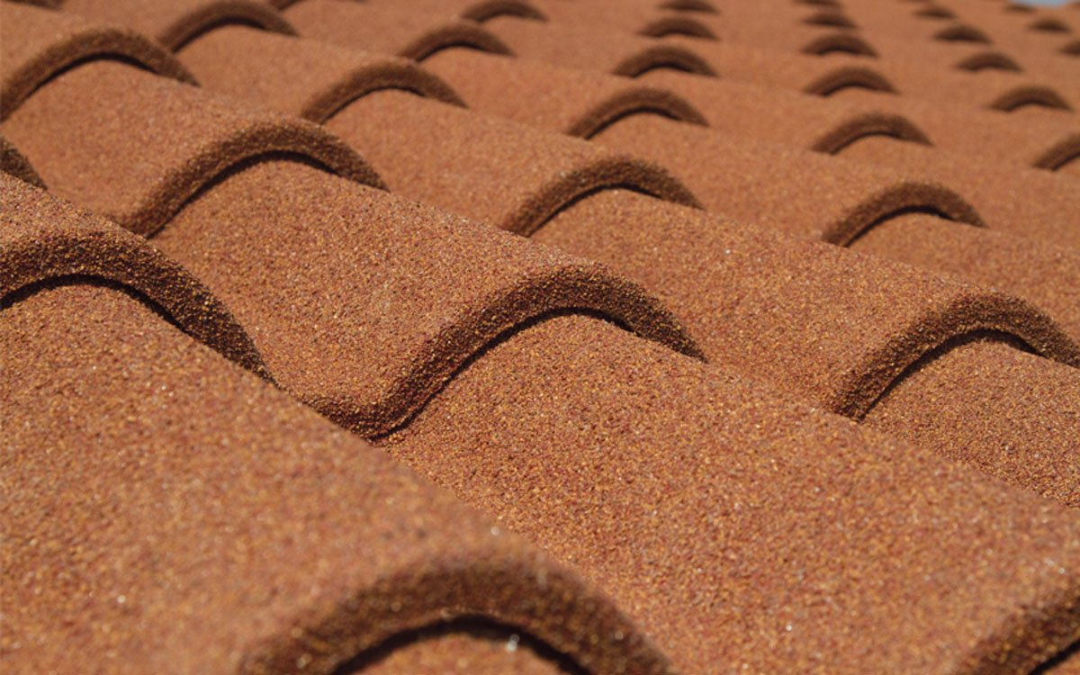 Mediterranean-style metal roof tiles with stone granules